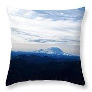 Mt Rainier Under Clouds Throw Pillow