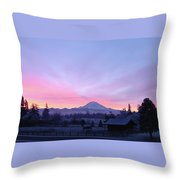 Mt Rainier Winter Sunrise-1 Throw Pillow
