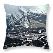 Mt Rundle Aerial View Throw Pillow