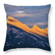 Mt Rundle Sunset Banff Throw Pillow