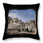 Mt Rushmore Tunnel Throw Pillow