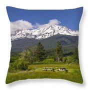 Mt Shasta With Picnic Tables Throw Pillow