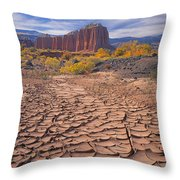 212648-mud Cracks Upper Cathedral Valley  Throw Pillow