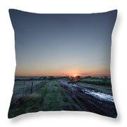 Muddy Road Sunrise II Throw Pillow