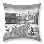 Muddy South Dakota Farmyard Throw Pillow