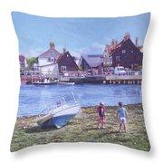 Mudeford Quay Christchurch From Hengistbury Head Throw Pillow