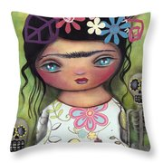 Muertos Fest Throw Pillow by Abril Andrade Griffith