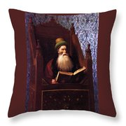 Mufti Reading In His Prayer Stool Throw Pillow