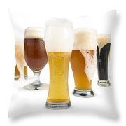 Mug Filled With Beer And Bottles Throw Pillow
