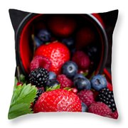 Mug With Fresh Berries Throw Pillow