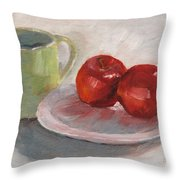 Mugging For Apples Throw Pillow