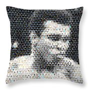 Muhammad Ali Butterfly Bee Mosaic Throw Pillow by Paul Van Scott