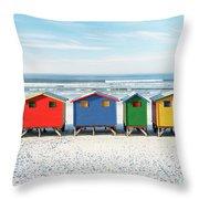 Muizenberg Beach Huts 2 Throw Pillow