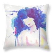 Mujer En Acuarela Throw Pillow