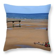 Mulberry Harbour, Omaha Beach, Normandy Throw Pillow