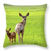 Mule Deer Doe And Fawn Looking Back Over Their Shoulders Throw Pillow