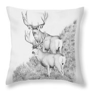 Mule Deer Study Throw Pillow