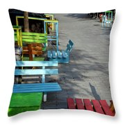 Multi-colored Benches On The Pedestrian Zone Throw Pillow