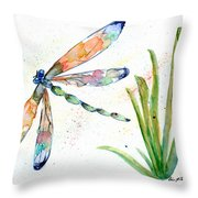 Multi-colored Dragonfly Throw Pillow