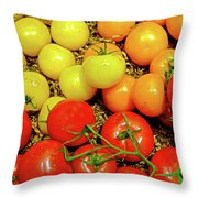 Multi Colored Tomatoes Throw Pillow
