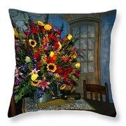 Multicolor Floral Arrangement Throw Pillow
