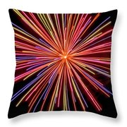 Multicolored Fireworks Throw Pillow