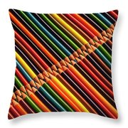 Multicolored Pencils In Rows Throw Pillow