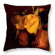 Multicolored Roses Wilting  Throw Pillow