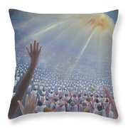 Multitude Of Worshippers Throw Pillow