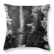 Multnomah Falls Bw Throw Pillow