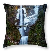 Multnomah Falls Frozen Throw Pillow