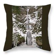 Multnomah Falls Winter Throw Pillow