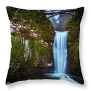 Multnomah Falls With Ice Throw Pillow
