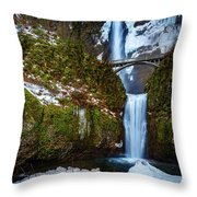 Multnomah Falls With Snow Throw Pillow