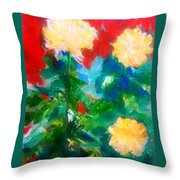 Mums On Red Throw Pillow