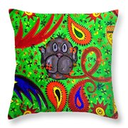 Mun Moji-hookah Monkey Throw Pillow
