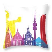 Munich Skyline Pop Throw Pillow