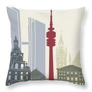 Munich Skyline Poster Throw Pillow