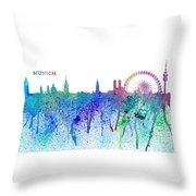 Munich Skyline Silhouette An Impressionistic Splash - Dream Cities Series Throw Pillow