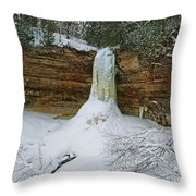 Munising Falls Frozen Throw Pillow