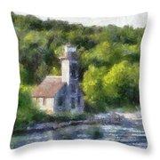 Munising Grand Island Lighthouse Upper Peninsula Michigan Pa 01 Throw Pillow