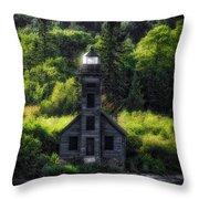 Munising Grand Island Lighthouse Upper Peninsula Michigan Vertical 01 Throw Pillow