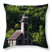 Munising Grand Island Lighthouse Upper Peninsula Michigan Vertical 02 Throw Pillow