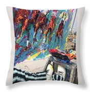 Mural Del Mar Race Track Throw Pillow
