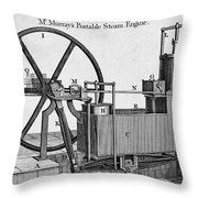 Murrays Portable Steam Engine, 19th Throw Pillow