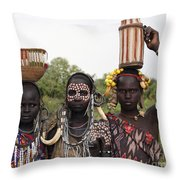 Mursi Tribesmen In Ethiopia Throw Pillow