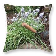 Muscari Blend Blue And White Throw Pillow