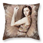 Muscle And Strength Pinup Poster Girl Throw Pillow