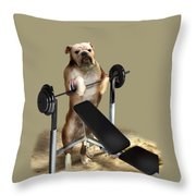Muscle Boy Boxer Lifting Weights Throw Pillow