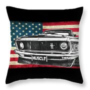 Muscle Us Mustang Throw Pillow